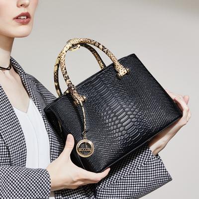 朱尔气质手提包女2018新款大容量牛皮女包时尚女士蛇纹包包手拎包