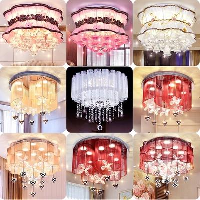 led吸顶灯温馨浪漫婚房灯卧室客厅灯新款圆形简约水晶灯创意灯具销量排行