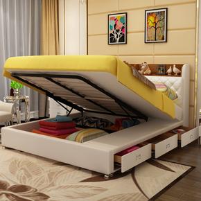 多功能真皮软床榻榻米大气双人床1.8米 主卧头层牛皮储物气动高箱