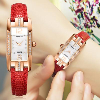 劳士顿手表女表正品真皮红色腕表方形镶钻时尚手表女士手表防水