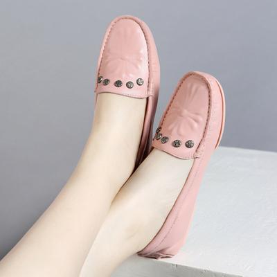 粉色圆头真皮豆豆鞋女2018新款韩版平底单鞋套脚休闲鞋平跟浅口鞋
