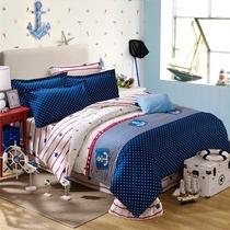 儿童地中海风格四件套全棉男孩床上用品欧美风蓝1.2米1.5m1.8床笠