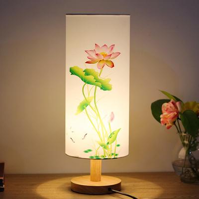 现代中式台灯卧室床头柜灯实木创意公主温馨可调光中国风装饰台灯