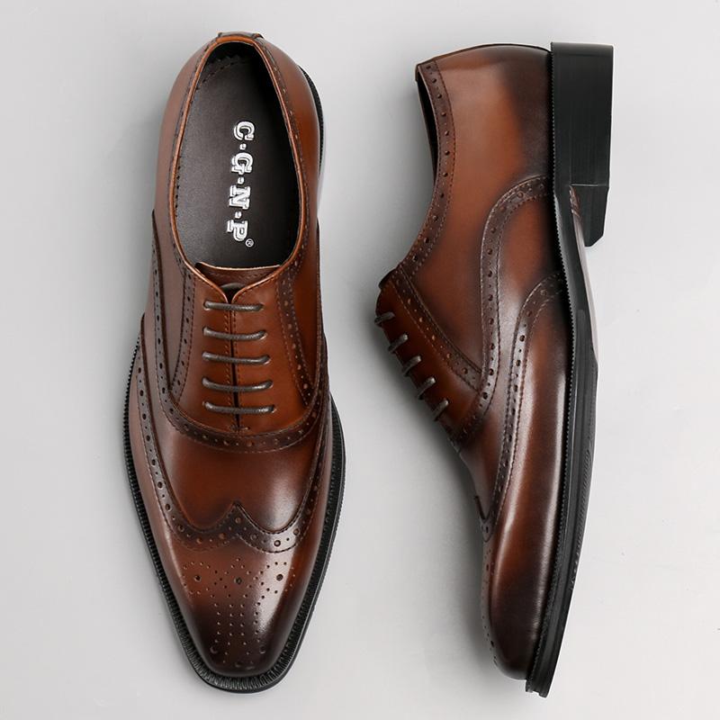布洛克雕花皮鞋男英伦真皮商务正装皮鞋潮流透气复古尖头男鞋婚鞋