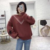 春秋女装 新款 圆领套头针织衫 I28 系带撞色毛衣 灯笼袖
