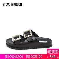 Steve Madden/思美登2018女鞋珍珠扣带沙滩鞋外穿一字拖鞋夏NORA