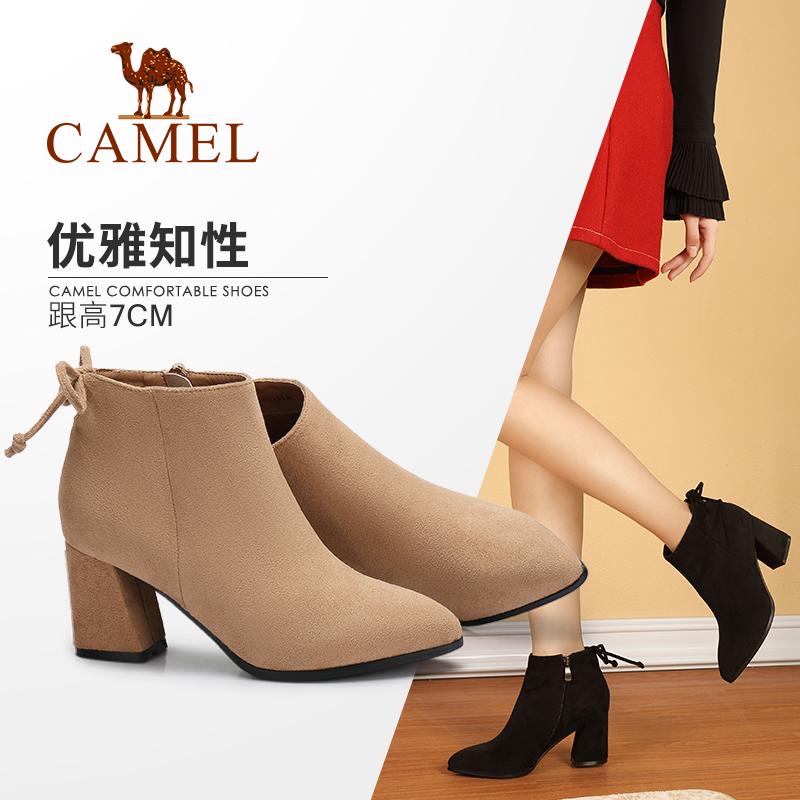 骆驼女鞋2018秋冬季新款时尚粗跟短筒时尚绒面靴子韩版百搭女短靴