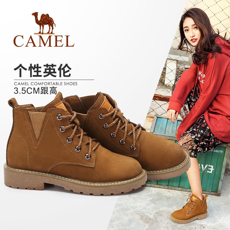骆驼女鞋2018冬季新款英伦风磨砂复古工装靴女沙漠靴真皮女马丁靴