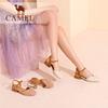 骆驼女凉鞋