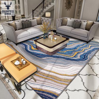蓝色轻奢后现代地毯客厅茶几垫卧室床边毯简美欧式样板房间新中式
