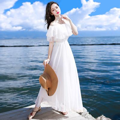 海南三亚小清新白色雪纺沙滩裙显瘦一字肩连衣裙女夏海边度假超仙