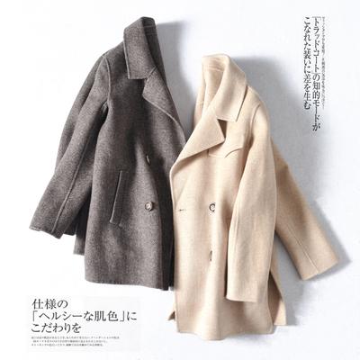 演绎早春时尚~简洁双面呢人字纹羊毛大衣中长款外套女MN88625