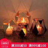 欧式简约几何铁艺蜡烛台家居客厅书房装饰品浪漫烛光晚餐道具摆件
