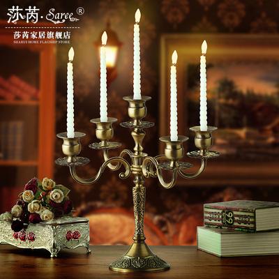 莎芮 欧式复古怀旧三头 五头合金烛台摆件 创意生日晚会烛台摆件