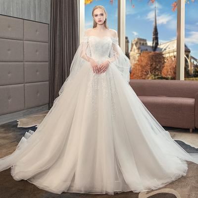 主婚纱礼服2018新款新娘结婚拖尾公主梦幻大码胖mm高腰孕妇遮孕肚