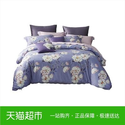 梦洁家纺出品玉兰雅韵全棉四件套花卉纯棉床单被套100%棉