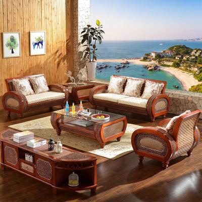 司库诺藤沙发组合客厅天然真藤艺沙发椅三人藤编红实木沙发五件套