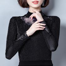 新款修身显瘦黑色大码打底衫女长袖百搭短款立领T恤上衣蕾丝春季