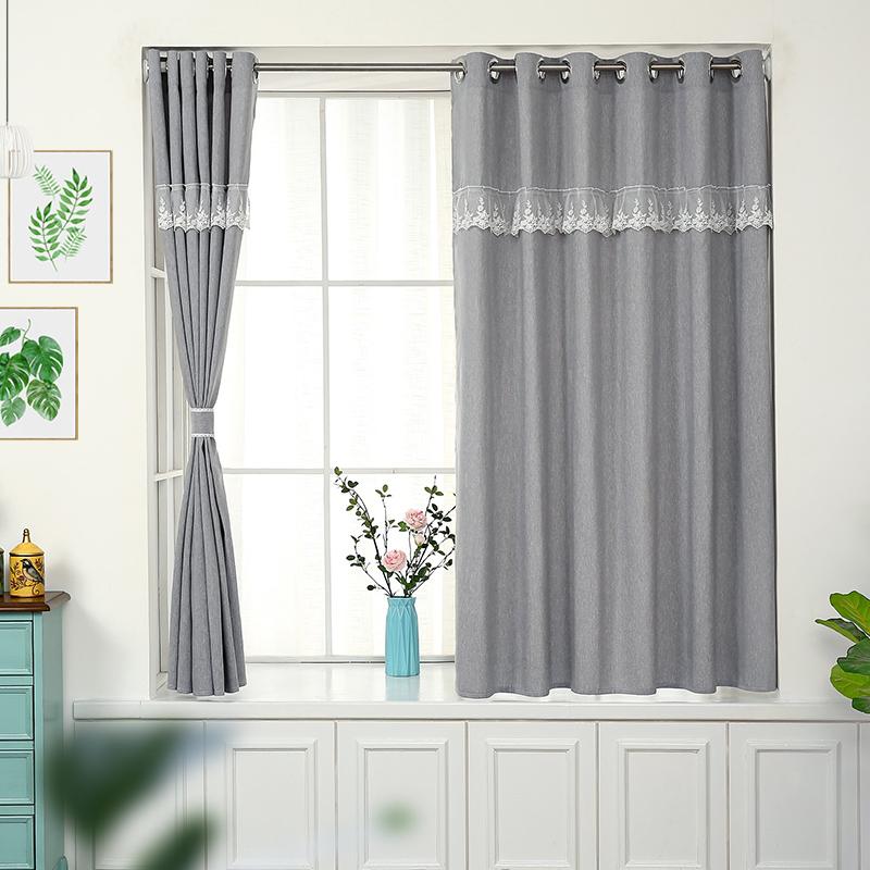 简易窗帘成品遮光帘布免打孔安装出租屋宿舍小短窗帘卧室简约现代
