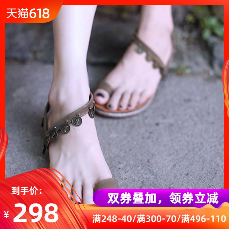 Artmu阿木原创新款复古套趾凉鞋铆钉波西米亚平底沙滩鞋罗马凉鞋