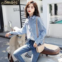 衬衫长袖女装2018春秋季新款韩版蓝色蓝白chic早秋竖条纹衬衣上衣