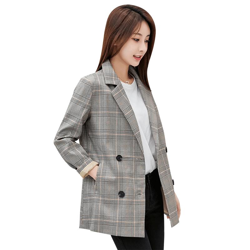 格子外套女装秋装2019新款韩版气质淑女西装领单排扣长袖西装外衣