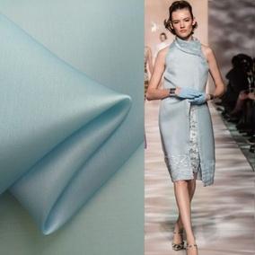 定制 神秘迷雾蓝 纯色宽幅 真丝欧根缎布料 礼服裙子外套公爵面料