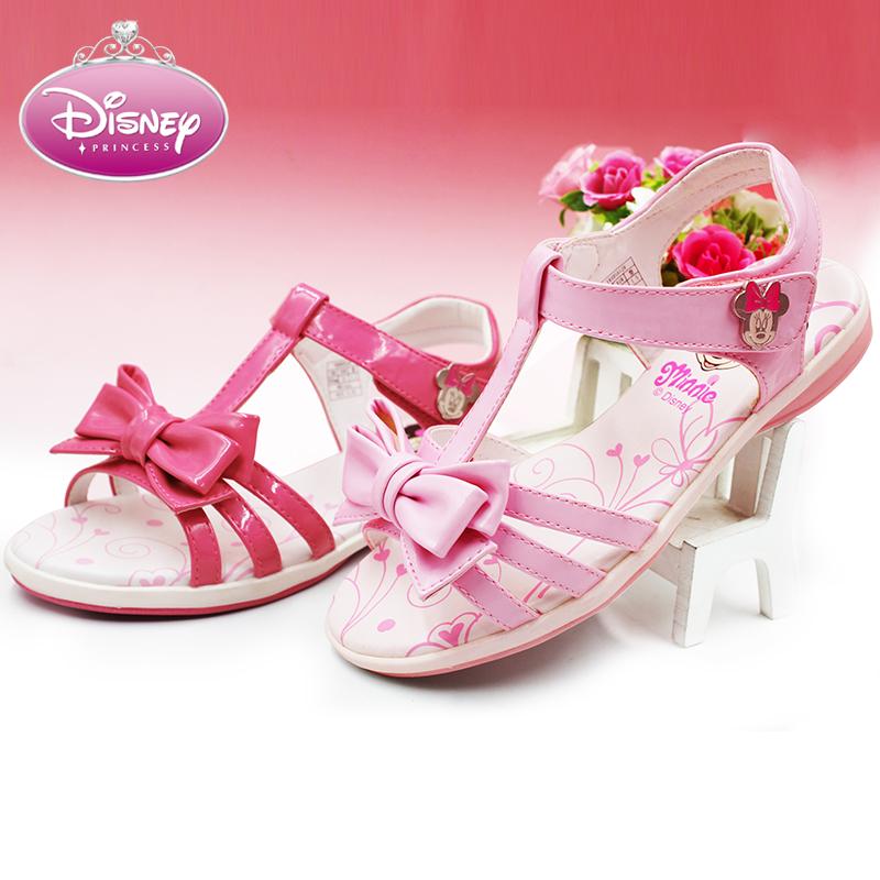 女童凉鞋迪士尼童鞋夏季沙滩凉鞋清仓特价女孩蝴蝶结中大童凉鞋