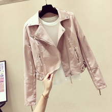 Pu leather jacket, short Lapel leather jacket, spring and autumn 2019 new net red self-cultivation retro harbor fan car leather jacket