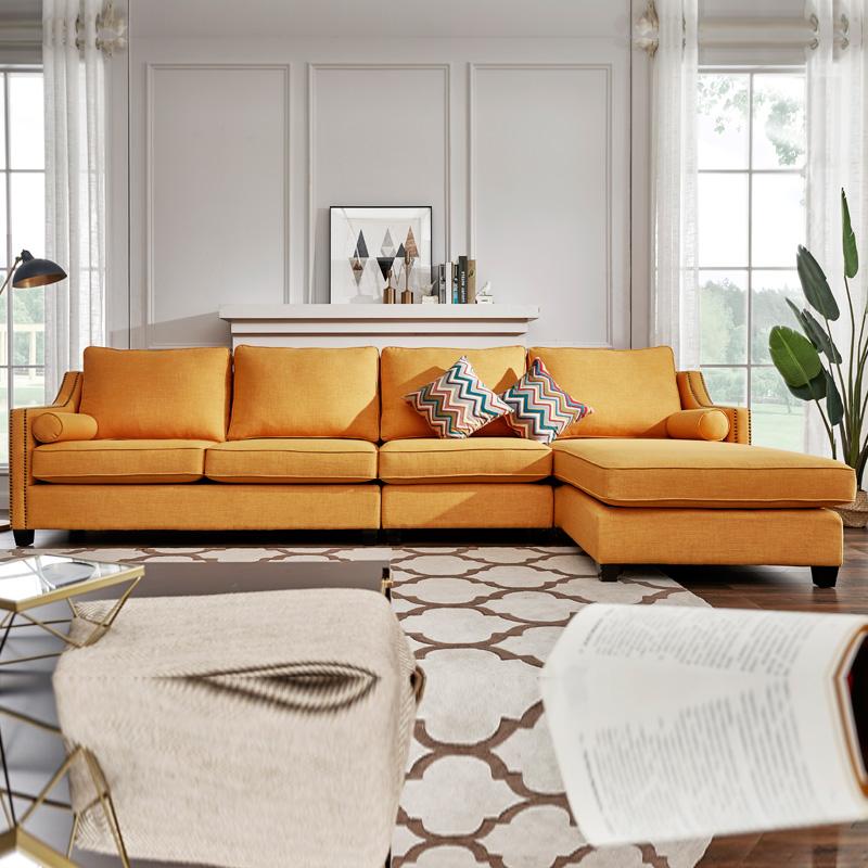 玫琳娜家具 Charlo夏洛美式布艺沙发客厅转角沙发组合可拆洗沙发