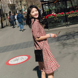 Fashion outdoor dress, small fresh checked short sleeve shirt, summer new loose and slim feeding skirt