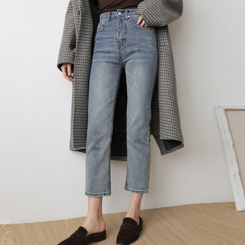 韩版新款宽松显瘦复古高腰学生牛仔裤女小个子百搭八九分裤直筒裤满79元减5元