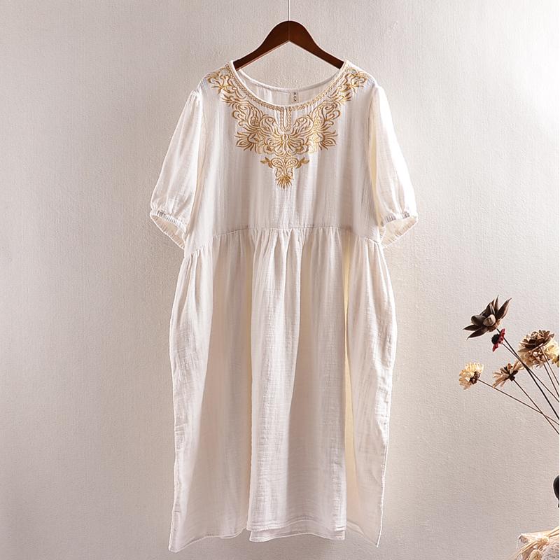 棉纱连衣裙长
