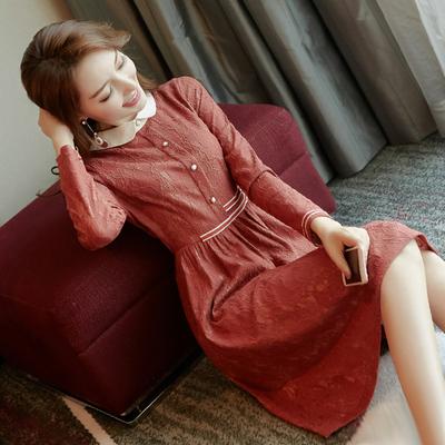 春装2019款女新款女装韩版修身显瘦时尚娃娃领中长款蕾丝连衣裙