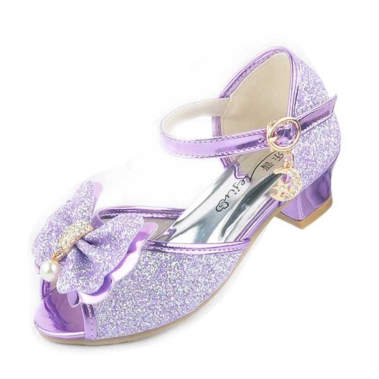 上新女童凉鞋2017新款韩版夏季公主高跟鞋儿童鱼嘴露趾鞋女孩紫色