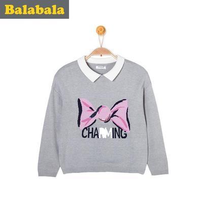 巴拉巴拉童装女童毛衣套头中大童2016冬装新款儿童娃娃领针织衫