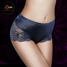 Seamless panties ladies ice silk pure cotton crotch mid waist large size lace edge girl flat angle hip hip shorts