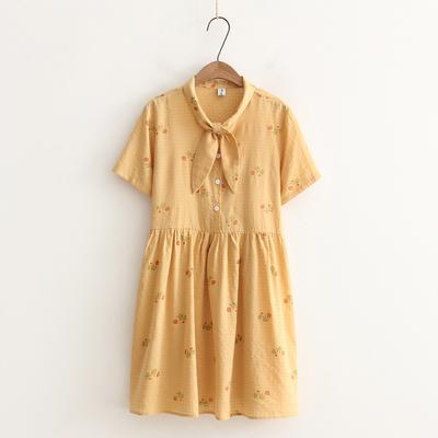 日系小清新甜美少女向日葵花兔耳朵系带森女连衣裙女短袖夏装学生