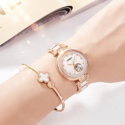 劳士顿手表女士镶钻陶瓷防水镂空全自动机械表时尚潮流新款女表
