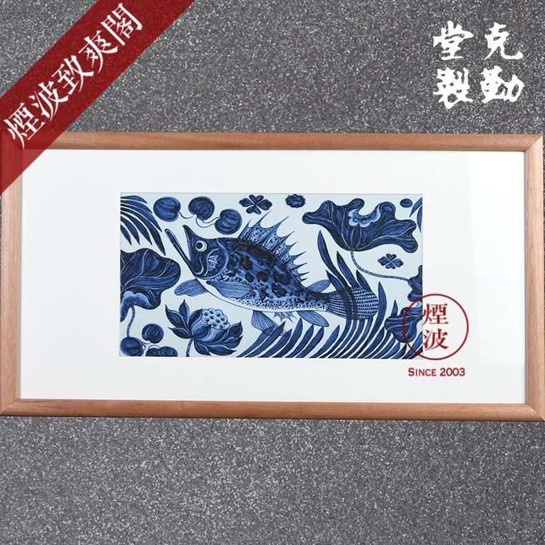 烟波 景德镇克勤堂 手绘元青花瓷器 瓷板画 单贵