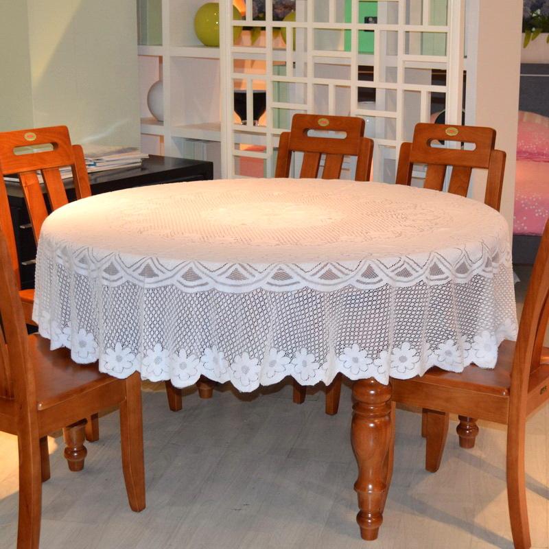 好多家针织雪纺巾餐桌布纯白蕾丝布艺时尚田园茶几桌布加大圆桌布