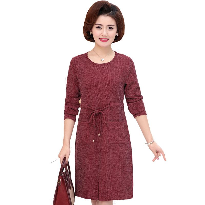 中年女秋装长袖妈妈裙子2018新款女连衣裙高贵40-50岁洋气中长款