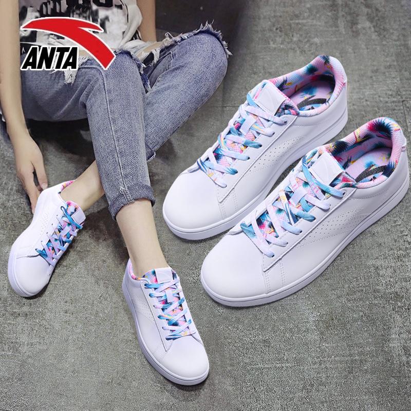 安踏女鞋板鞋女白色2019新款小白鞋潮冬季百搭学生平底运动休闲鞋