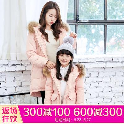 笛莎童装女童棉衣亲子装冬儿童中长款冬装中大童外套