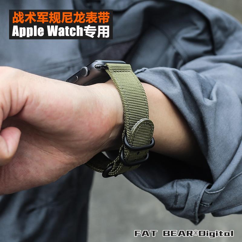 肥熊苹果Apple Watch Series5 3/4/5军规战术尼龙表带iWatch5腕带
