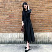 黑色连衣裙女 2019春装新款韩版V领七分袖收腰显瘦赫本长裙小黑裙
