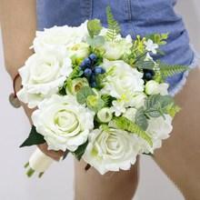 包邮 婚纱摄影道手捧花森系白色玫瑰浆果新娘手捧花仿真婚礼 新款