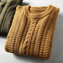 High-end first-cut Australian Wool Thick men's turtleneck Pullover knitted sweater twist sweater men winter