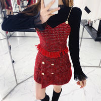 Q female house red annual meeting royal sister goddess fan small fragrance suit half-length skirt foreign thin slim strap two-piece