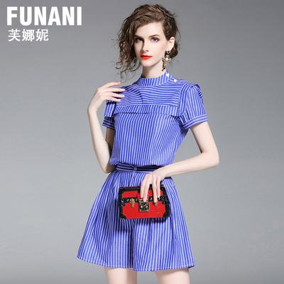 芙娜妮2018夏季新款时尚名媛短袖条纹上衣两件套女装显瘦短裤套装
